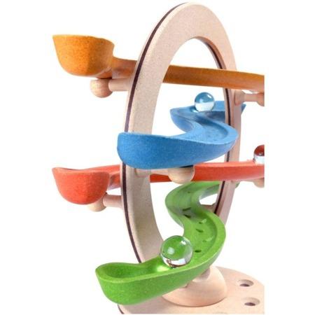 Duża drewniana pochylnia Klik Klak kulodrom - tor z kuleczkami, zabawka do obserwowania zdarzeń, Plan Toys