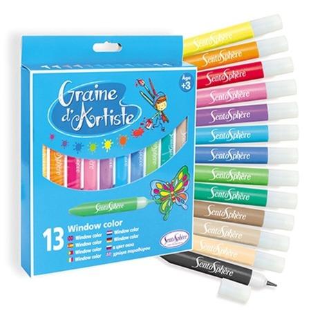Farby do malowania na szkle w pisaku / długopisie - 13 sztuk SENTOSPHERE