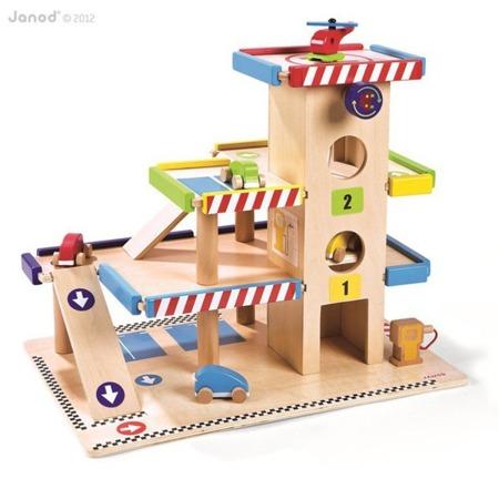 Garaż drewniany z pojazdami (4 samochodziki i helikopter) - duży zestaw, trzy poziomy, Janod