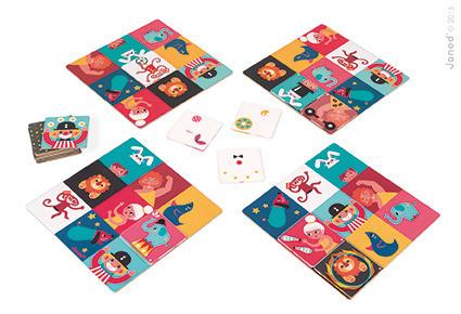Gra karciana wyścig Rapidiplex cyrk, 4 lata +, 4 plansze z obrazkami, JANOD