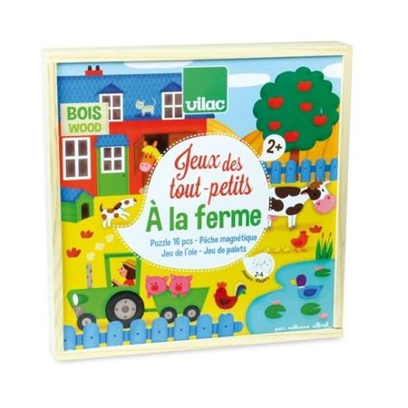 Gry dla dwulatka Na Farmie, drewniane - łowienie rybek, puzzle, wyścig (gra planszowa), 2 lata + VILAC