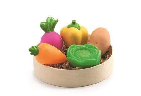 Gumowe warzywa do dziecięcej kuchni - super zabawa przy odgrywaniu ról i do warzywniaka, DJECO DJ06609