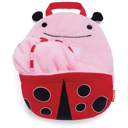 Koc w plecaku - rozkładany, podróżny koc dla dzieci z motywem Zoo Biedronka, SKIP HOP