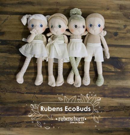 Lalka Eco Buds Aspen - ręcznie robiona laleczka z bawełnyorganicznej ok. 35cm, Rubens Barn