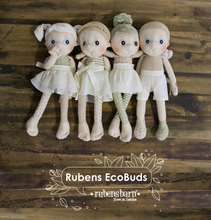 Lalka Eco Buds Daisy - ręcznie robiona laleczka z bawełnyorganicznej ok. 35 cm, Rubens Barn