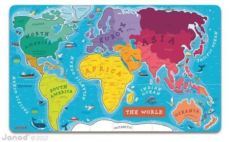 Mapa świata - puzzle magentyczne, Janod - 92 elementy w zestawie