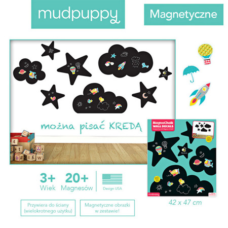 Naklejki ścienne samoprzylepne magnetyczne - tablice kredowe Niebo, wielorazowe, 3+, Mudpuppy