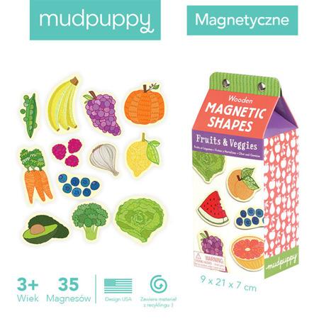 Zestaw drewnianych magnesów Owoce i warzywa - magnesy 35 elementów, Mudpuppy