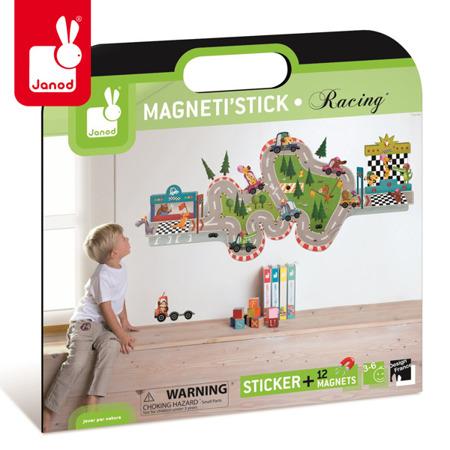 Naklejka ścienna XL z 12 magnesami Wyścig Magneti'Stick, Janod