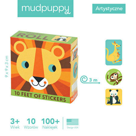 Naklejki na rolce Zwierzęta świata 100 szt. - zwierzątka, Mudpuppy MP41692