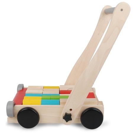 Pchacz - drewniany wózek do pchania z klockami, Plan Toys