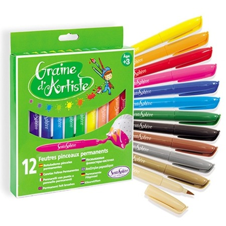 Permanentne pisaki pędzelki do pisania i rysowania po odlewach gipsowych, szkle, metalu itp. - 12 sztuk, SentoSphere