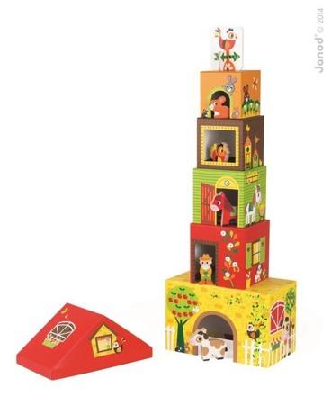 Piramida wieża z drewnianymi zwierzątkami i farmerem - Farma, Janod