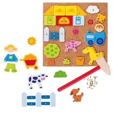 """Przybijanka """"Farma, zwierzęta"""" - manulana zabawa z figurami dla dzieci, 52 el., GOKI"""
