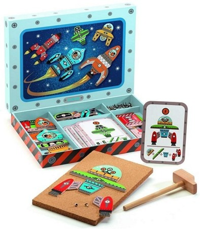 Przybijanka dla dzieci - układanka budowa rakiet, zestaw kosmos DJECO, DJ06642