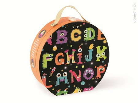 Puzzle Alfabet potworki podłogowe - w walizce, 50 elementów, Janod