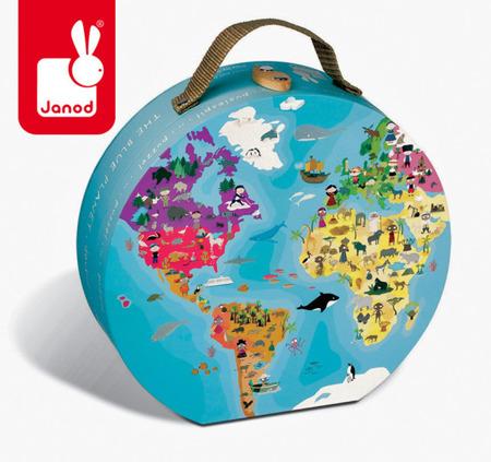 Puzzle Błękitna Planeta - w walizce, dwustronne,  208 elementów, Janod