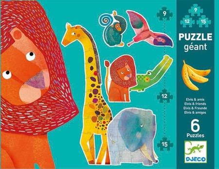 """Puzzle GIGANT 145 cm """"Elvis i przyjaciele"""" - 6 zwierzątek z puzzli, DJECO"""
