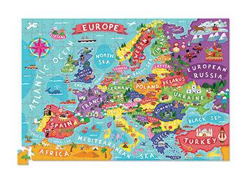 Puzzle Mapa Europy 200 elementów - puzzle w kartonowej tubie, Crocodile Creek