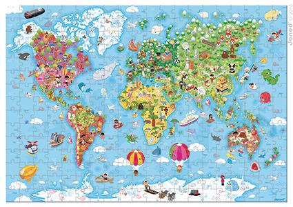 Puzzle Mapa Świata GIGANT 300 elementów - puzzle w walizce dla dzieci 6 lat+, Janod