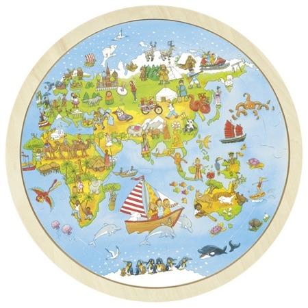Puzzle drewniane mapa świata - przygoda z Peggy Diggledey, GOKI 57479