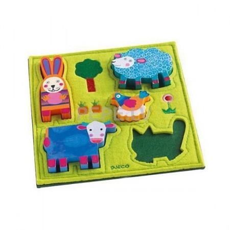 Puzzle drewniano-filcowe Wesoła farma - układanka ze zwierzątkami dla najmłodszych, Djeco