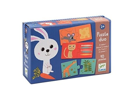 Puzzle edukacyjne DUO - puzzle zwierzęta i ich pokarmy, co je zwierzątko? DJECO