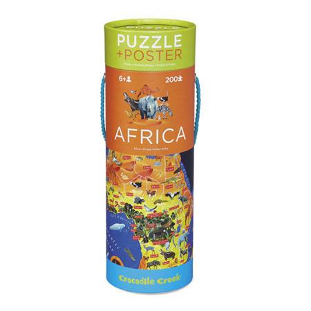 Puzzle mapa Afryki - puzzle Afryka w twardej tubie, 200 puzzli, Crocodile Creek