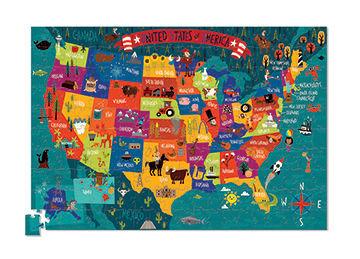 Puzzle mapa USA - puzzle Stany Zjednoczone w twardej tubie, 200 puzzli, Crocodile Creek