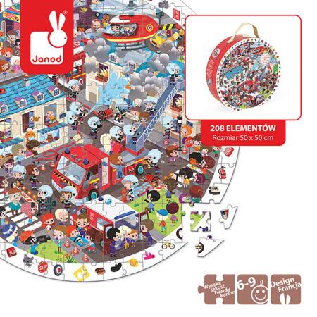 Puzzle obserwacyjne w walizce Straż pożarna - wóz strażacki i strażacy w akcji, JANOD J02793