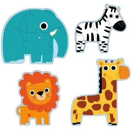 Puzzle postaciowe. dżungla - zwierzęta - 4 układanki, 2 lata +,  DJECO DJ07135