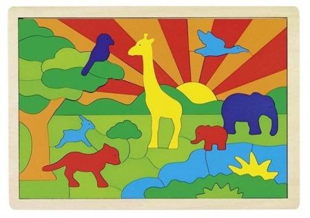 Puzzle, układanka drewniana dżungla, zwierzęta 57 el., GOKI