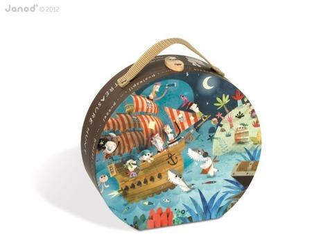Puzzle w twardej walizce Piraci - 36 elementów Puzzli obrazek Piratów, Janod