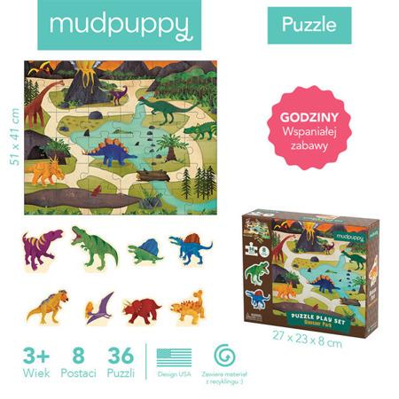Puzzle zestaw z 8 figurkami Dinozaury 3+, Mudpuppy