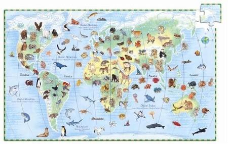 Puzzle zwierzęta świata 100 elementów dla dzieci - puzzle nauka zwierząt, DJECO