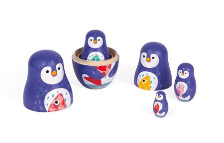Rodzina pingwinów matrioszki - drewniane laleczki pingwinki, Janod
