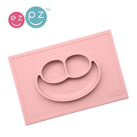 Silikonowy talerzyk z podkładką 2w1 Happy Mat pastelowy róż, EZPZ EUHMB005
