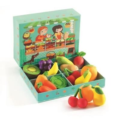 Skrzyneczka z warzywami i owocami - Stragan Louis & Clementine dla dzieci, DJECO