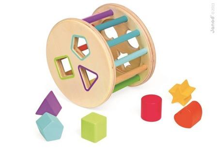 Sorter kształtów Kolory - drewniany sorter do turlania dla dzieci 18m+, Janod