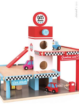 Stacja benzynowa garaż drewniany z 8 elementami - taksówki, radiowóz, samochody, JANOD