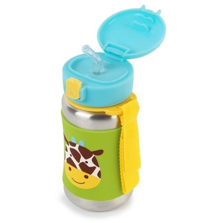 Stalowy bidon ze słomką dla dzieci - stal nierdzewna, Żyrafa Zoo, SKIP HOP