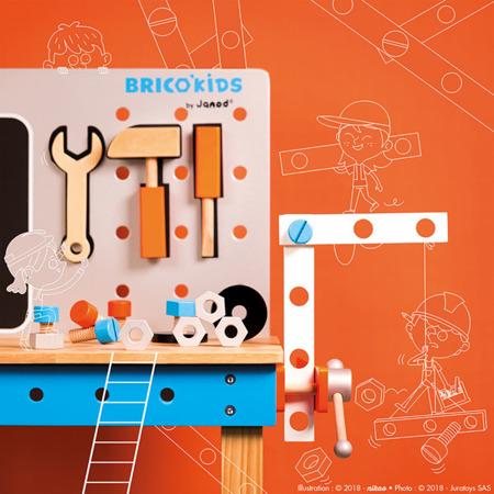 Stolik warsztatowy z 40 akcesoriami duży Brico 'Kids kolekcja 2018, Janod