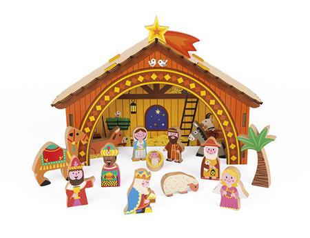 Świąteczna drewniana szopka dla dzieci wraz z figurkami i postaciami, Janod