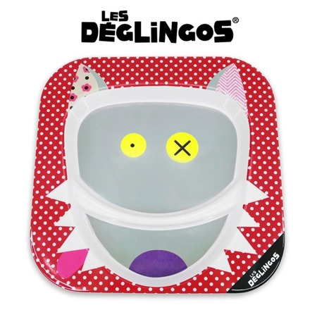 Talerz z melaminy Wilk Bigbos - talerz dwudzielny 22cm, Les Deglingos 55110
