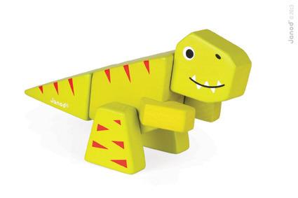 Tyranosaurus drewniany dinozaur do złożenia z 5 klocków, Janod