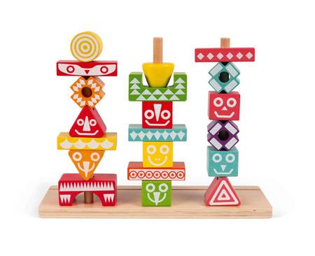 Układanka drewniana piramida Totemy, Janod