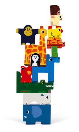 Układanka drewniana piramida Zwierzęta, Janod