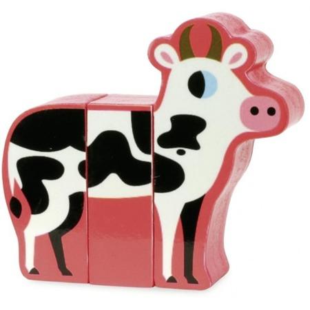 Drewniane klocki magnetyczne zwierzęta,farma - układanka magnetyczna, 2 lata +, Vilac