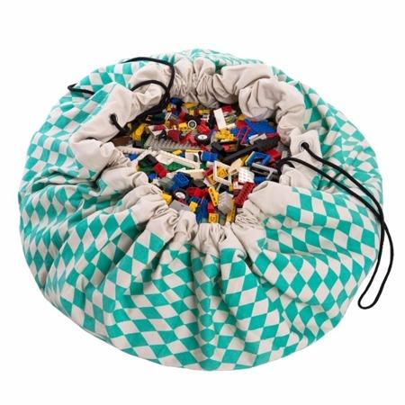 Worek na zabawki i mata do zabawy 2w1 - worek do przechowywania klocków, samochodzików itp. Zielone Romby, Play& Go