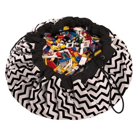 Worek na zabawki i mata do zabawy 2w1 - worek do przechowywania klocków, samochodzików itp. ZygZak Czarny, Play& Go